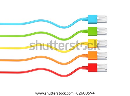 Colorful patchcords. 3d rendered. Isolated on white background.
