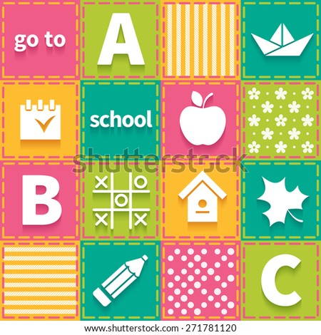 Colorful patchwork with elements of children school theme - stock photo