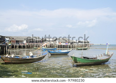 Colorful pattern of traditional fisherman boats in thailand