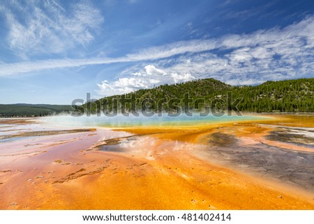 Colorful patterns in the algea and bacteria layers of the Grand Prismatic Spring, Yellowstone National Park