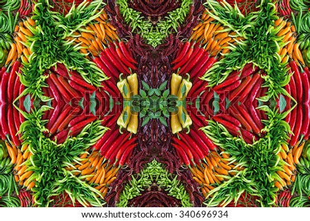 Colorful patterns of chili. - stock photo