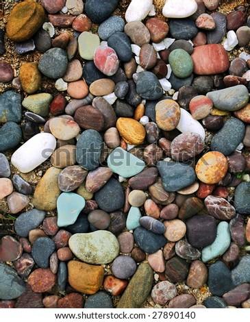 colorful pebble stone background - stock photo