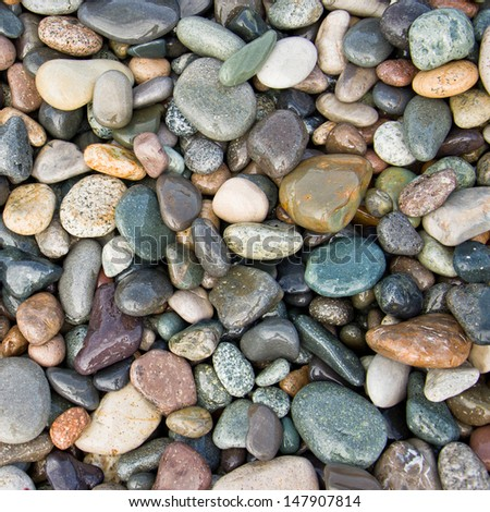 Colorful pebbles on the beach - stock photo