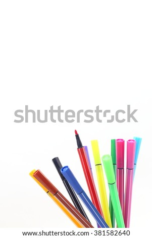 Colorful pen on a white background  - stock photo