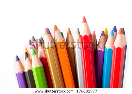 Colorful pencil isolated with white background