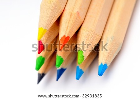 colorful pencils against white