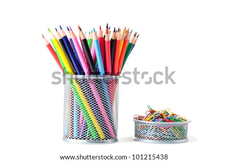 colorful pencils and paperclips isolated on the white background - stock photo