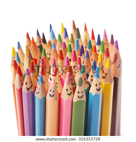 Colorful pencils as smiling faces people isolated - stock photo