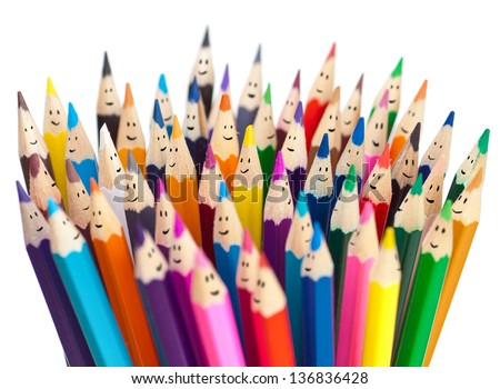 Colorful pencils as smiling faces people isolated. Social networking communication concept. - stock photo