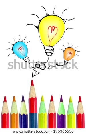 colorful pencils drawing light bulbs isolated on white background. - stock photo