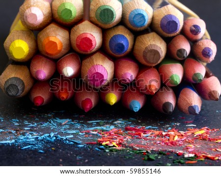 colorful pencils, front view, - stock photo