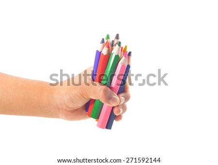 Colorful pencils in hand, isolated on white.  - stock photo