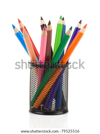 colorful pencils in holder basket isolated on white background - stock photo