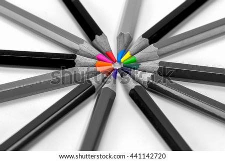 Colorful pencils isolated on background white, Shallow depth of field - stock photo