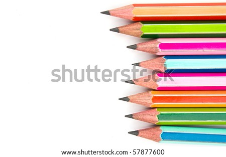 colorful pencils - isolated on the white background