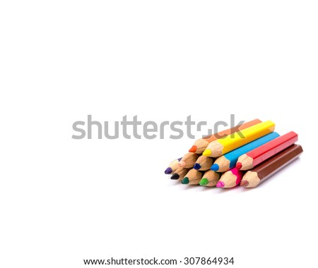 Colorful pencils, isolated on white with copy space - stock photo