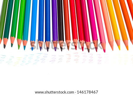 colorful pencils with traces isolated on white background
