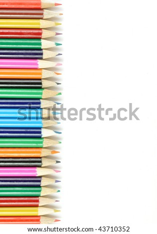 colorful pens with white background