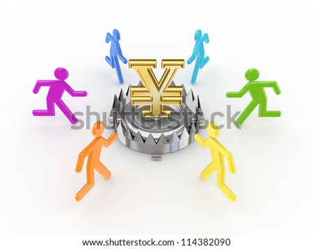 Colorful people around iron trap with yen symbol.Isolated on white background.3d rendered. - stock photo