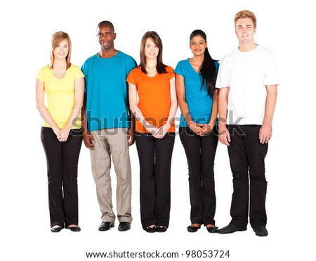 colorful people diversity isolated on white background - stock photo