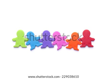 Colorful people figures isolated on white - stock photo