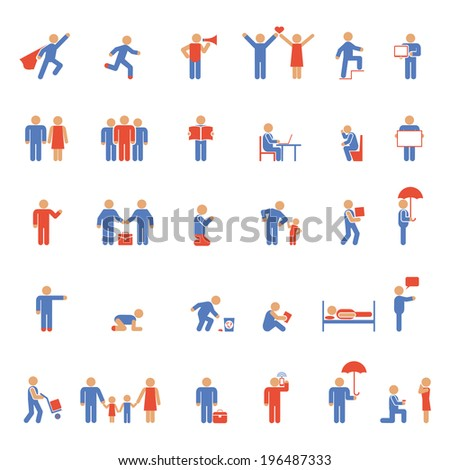 colorful people icons. Rest, work and family