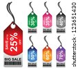 Colorful 25 - 70 Percent OFF Big Sale Price Tag Isolated on White Background - stock photo