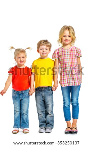 Colorful photo of little boy and cute little girls on white background. Children standing in a row