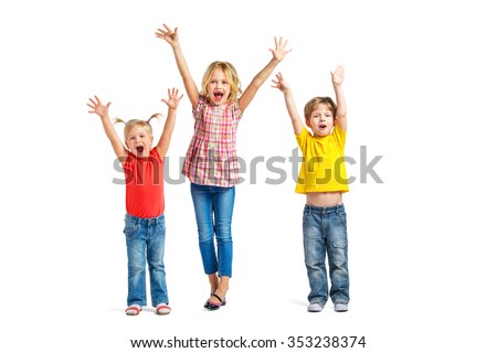 Colorful photo of little boy and cute little girls on white background. Children with hands up looking at camera and cheerfully screaming - stock photo