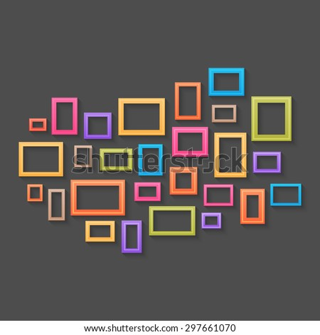 Colorful picture frames background - stock photo