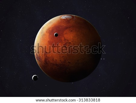 Colorful picture represents Mars and its moons. Elements of this image furnished by NASA. - stock photo