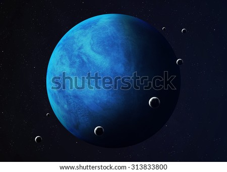 Colorful picture represents Neptune and its moons. Elements of this image furnished by NASA. - stock photo
