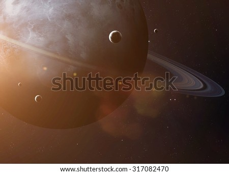 Colorful picture represents Uranus and its moons. Elements of this image furnished by NASA. - stock photo