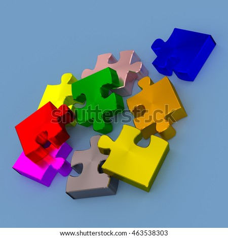 Colorful pieces of puzzle on a blue background, 3d rendering