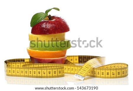 Colorful pile of fresh fruits over white - stock photo