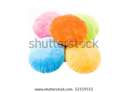 colorful pillows (isolated on the white) - stock photo