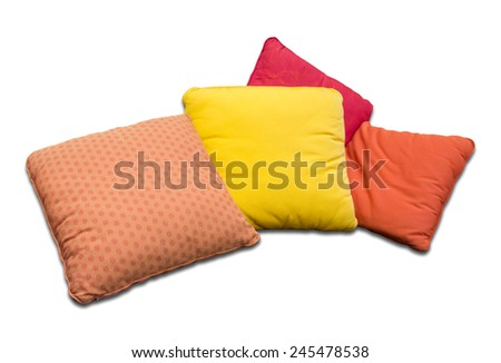 Colorful pillows isolated on white background - stock photo
