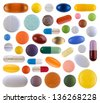 Colorful pills isolated on white background - stock photo