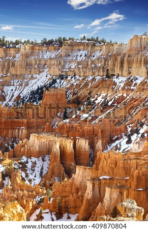 colorful pinnacles in Bryce Canyon National Park - stock photo