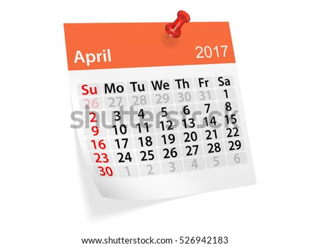 Colorful pinned note monthly calendar for April 2017. Set of monthly calendars for year 2017. Pinned note calendar series. 3d illustration