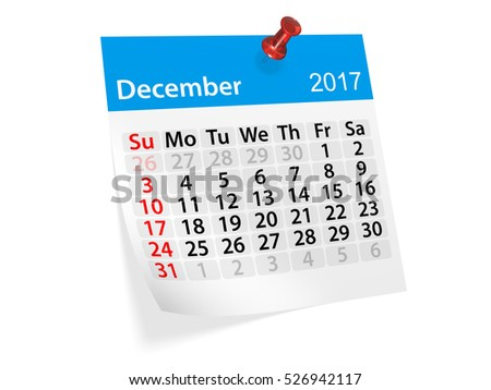 Colorful pinned note monthly calendar for December 2017. Set of monthly calendars for year 2017. Pinned note calendar series. 3d illustration