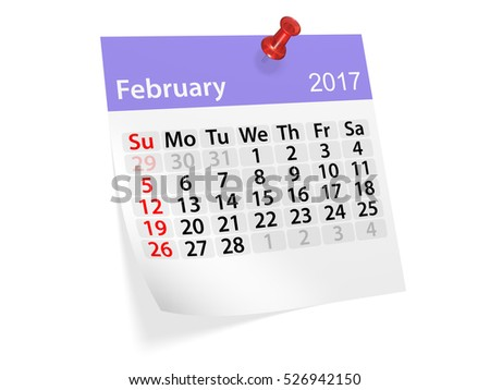 Colorful pinned note monthly calendar for February 2017. Set of monthly calendars for year 2017. Pinned note calendar series. 3d illustration