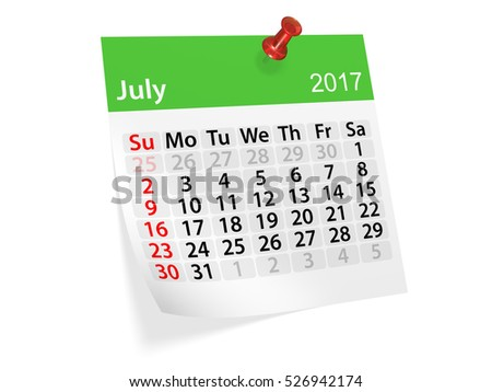 Colorful pinned note monthly calendar for July 2017. Set of monthly calendars for year 2017. Pinned note calendar series. 3d illustration