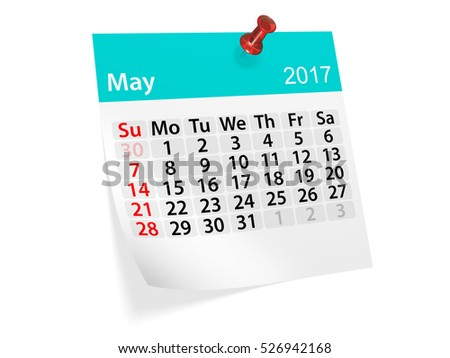 Colorful pinned note monthly calendar for May 2017. Set of monthly calendars for year 2017. Pinned note calendar series. 3d illustration