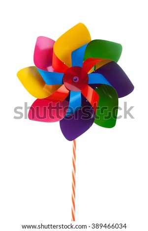 colorful pinwheel isolated on white  - stock photo