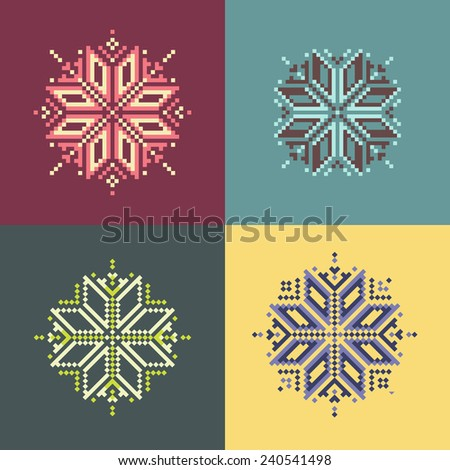 Colorful pixel snowflakes set for your design - stock photo