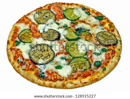 colorful pizza with eggplant on white background