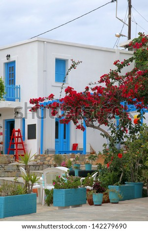 colorful place on the island of Tilos, Greece - stock photo