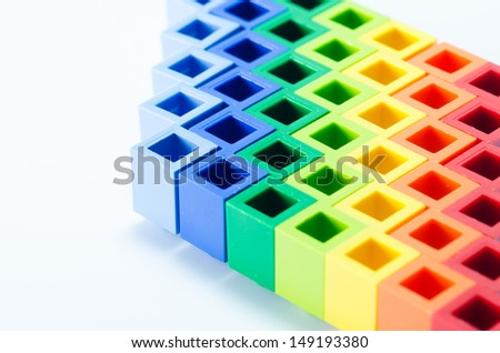 colorful plactic block close up - stock photo