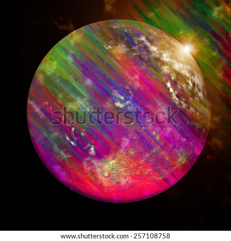 Colorful planet with oil paint strokes